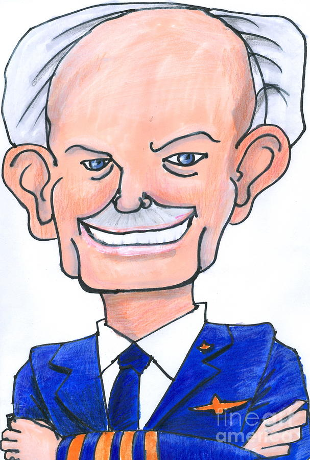 Caricature Drawing - Sully Sullenberger Caricature by Stan Levine