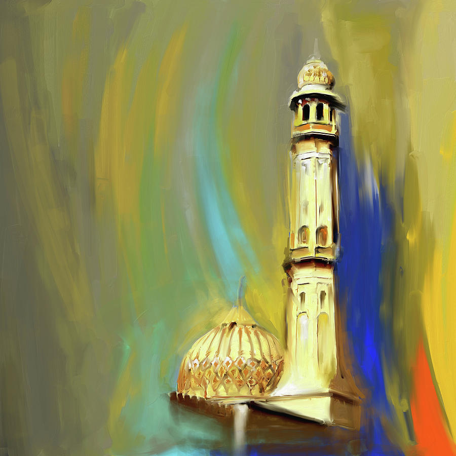 Islamic Architecture Painting - Sultan Qaboos Grand Mosque 681 1 by Mawra Tahreem