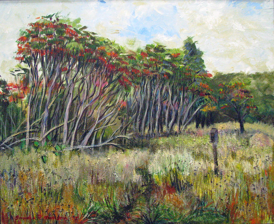 Fall Painting - Sumac Fall by Art Nomad Sandra  Hansen