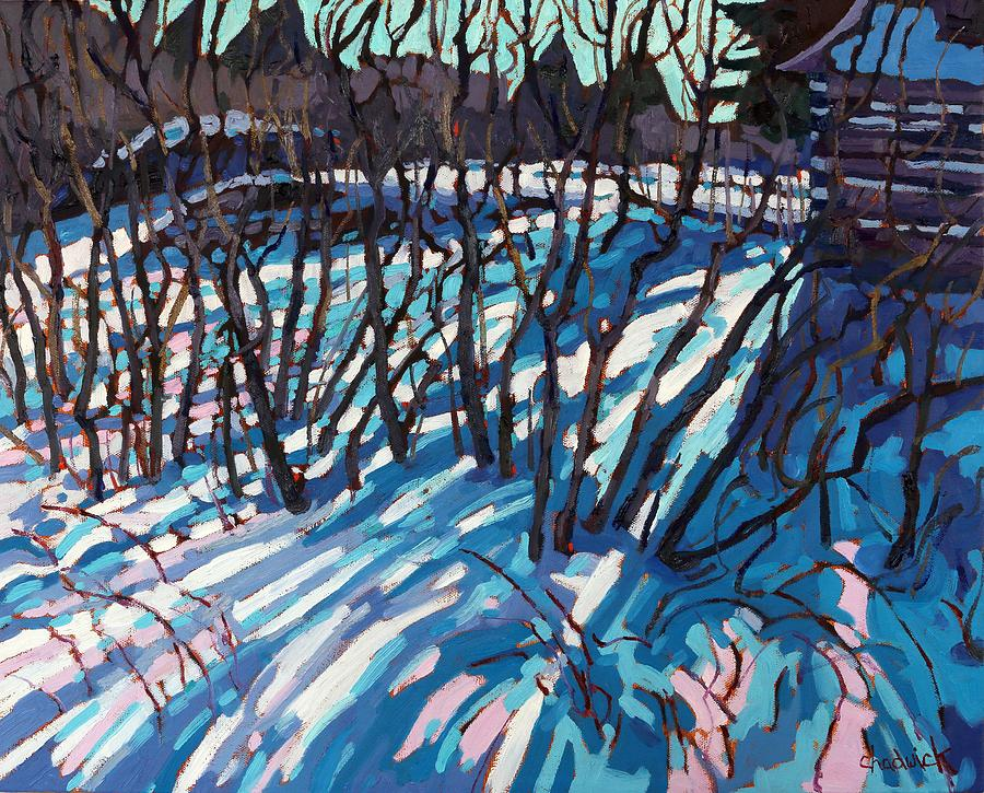 Log Painting - Sumac Snow Shadows by Phil Chadwick