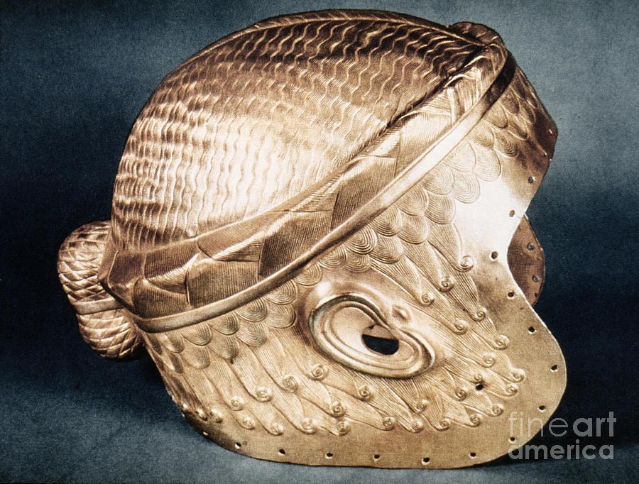 Ancient Photograph - Sumerian Gold Helmet by Granger