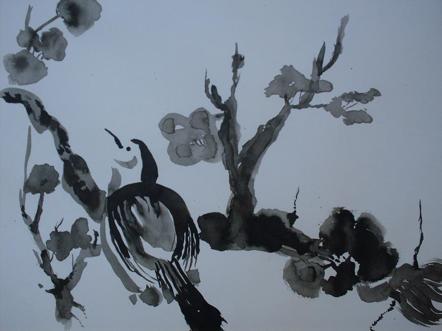Sumi-e Painting - Sumi-e Bird And Plum Blossoms by Warren Thompson