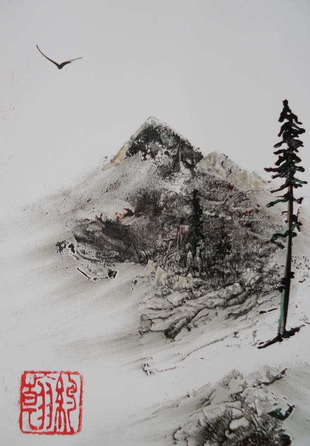sumi mountain painting by john vandebrooke