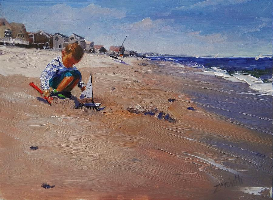 Beach Painting - Summer 2016 by Laura Lee Zanghetti