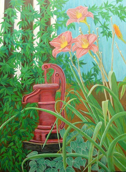 Waterpump Painting - Summer Abundance by Annie Thomas-Burke