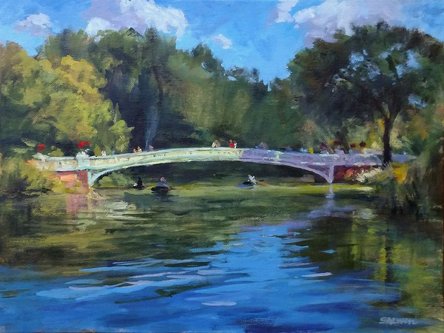 Landscape Painting - Summer Afternoon On The Lake, Central Park by Peter Salwen