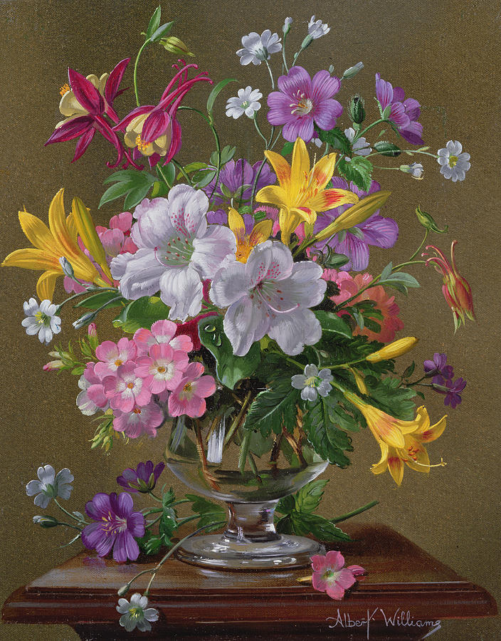 Summer Arrangement In A Glass Vase Painting by Albert Williams