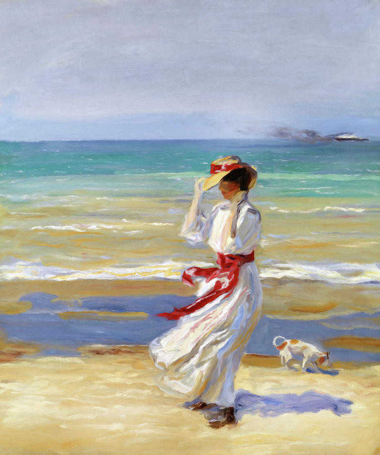 Summer Beach Walk Impressionism by Georgiana Romanovna