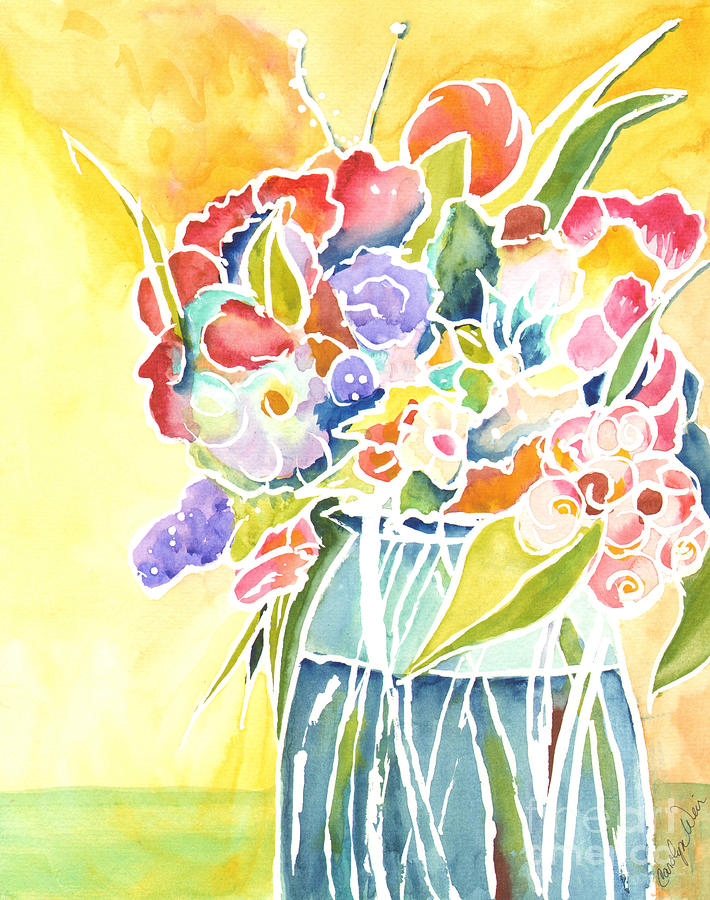 Vase Painting - Summer Blooms by Carolyn Weir