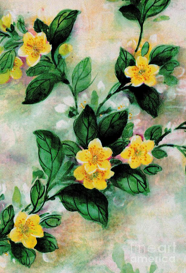 Yellow Painting - Summer Blooms by Writermore Arts