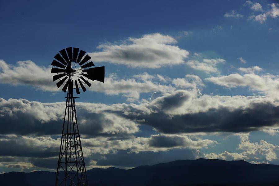 Summer blues Windmill by Julie Carter
