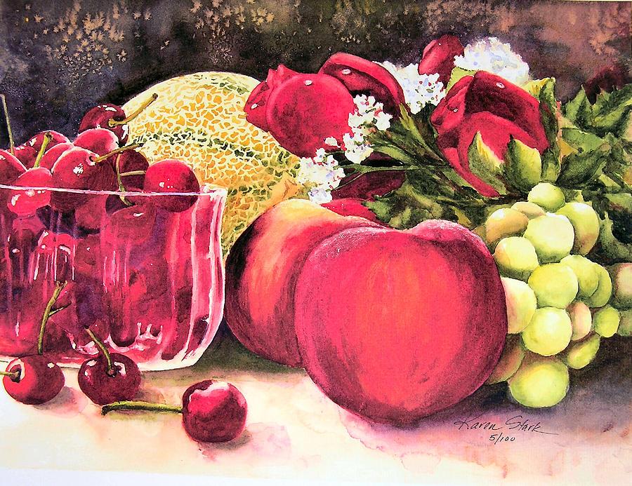 Cherries Painting - Summer Bounty by Karen Stark