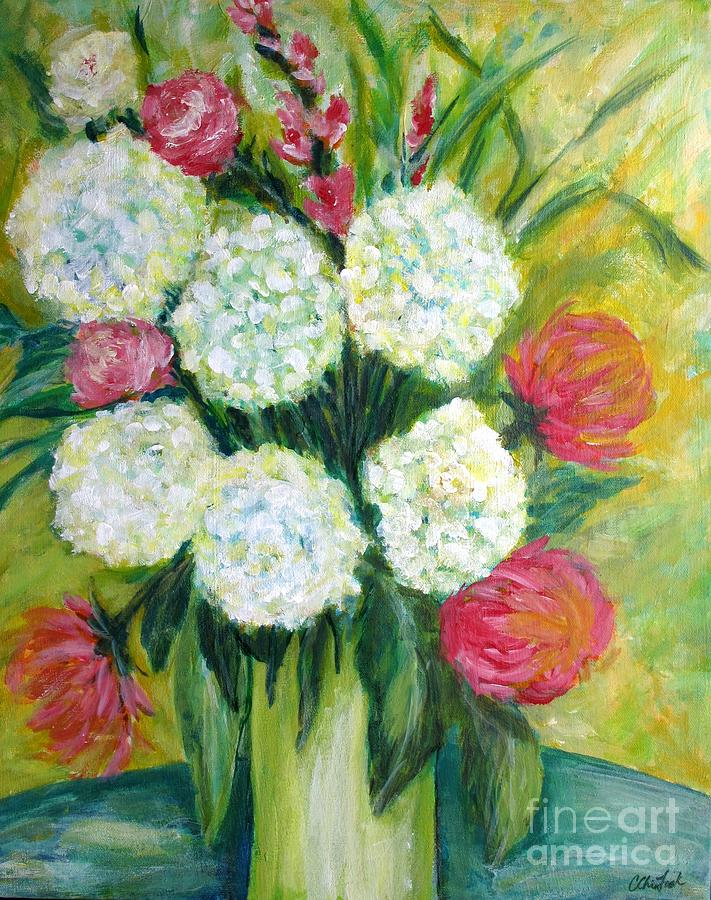 Abstract Florals Painting - Summer Bouquet by Christine Chin-Fook