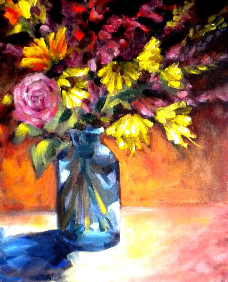 Flowers Painting - Summer Bouquet by Paula Strother