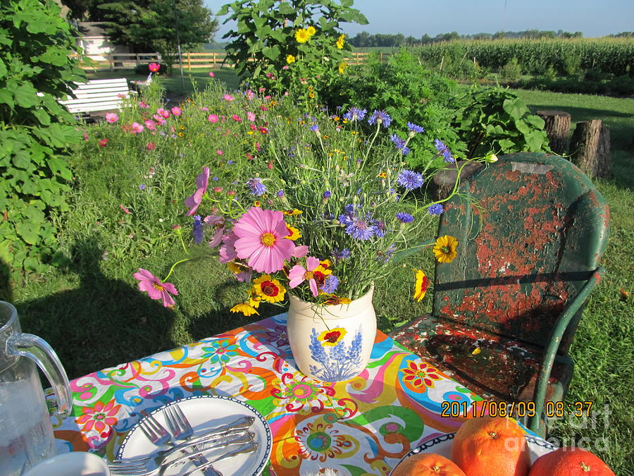 Garden Photograph - Summer Breakfast In The Garden by Tina M Wenger