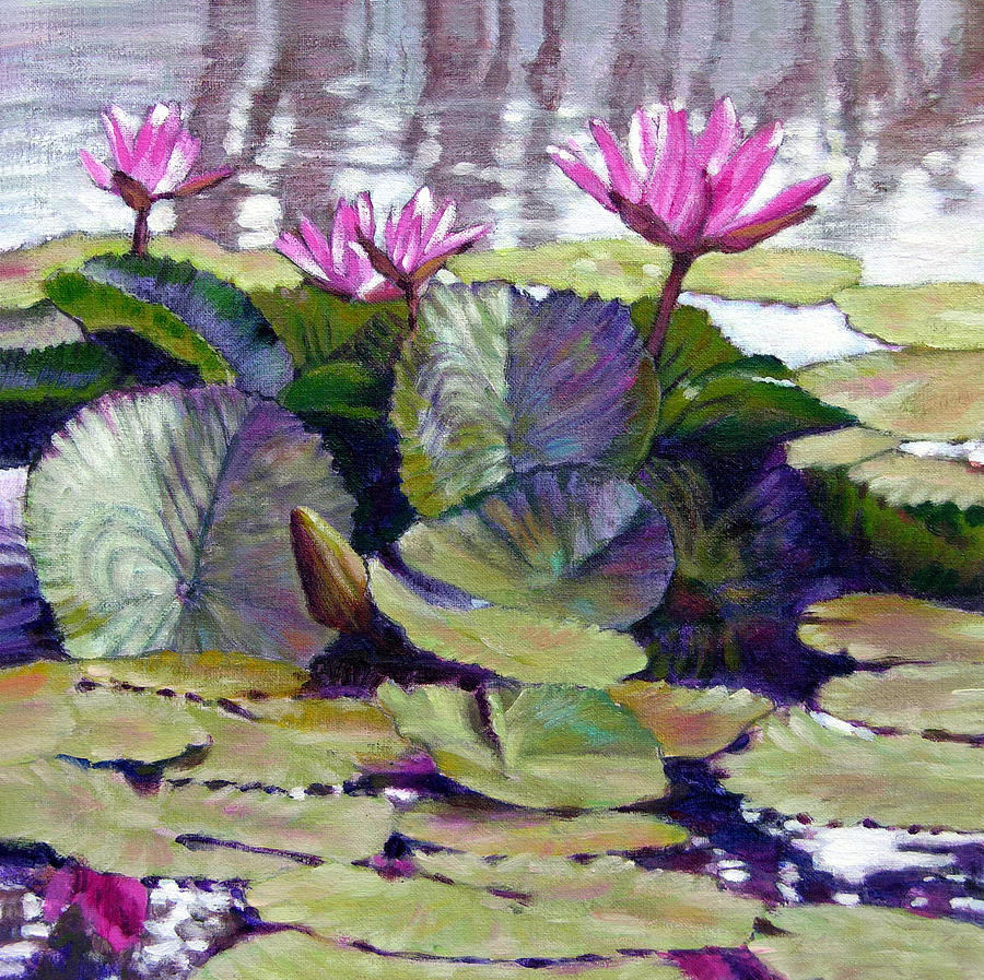 Water Lilies Painting - Summer Breeze by John Lautermilch