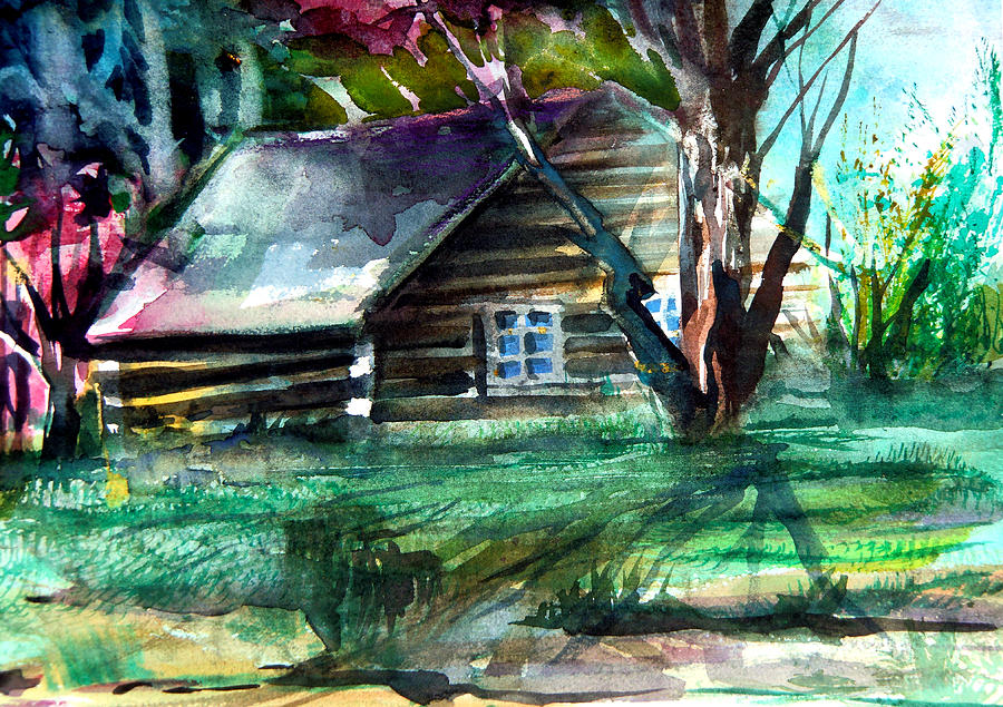 Cabin Painting - Summer Cabin by Mindy Newman