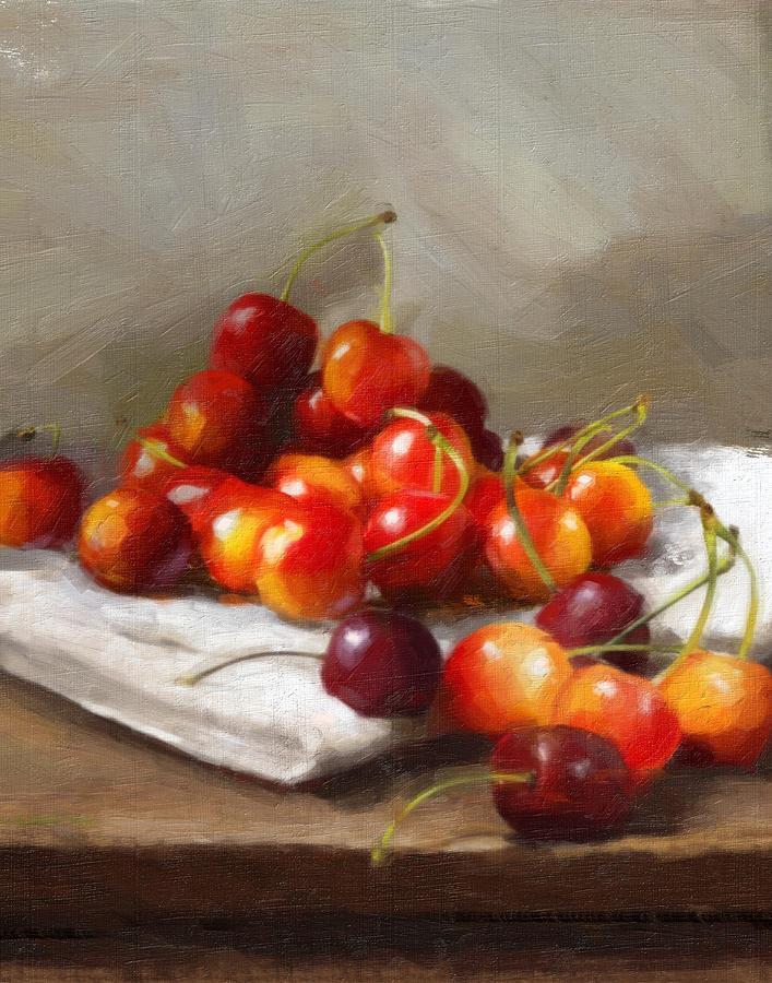 Cherries Painting - Summer Cherries by Robert Papp