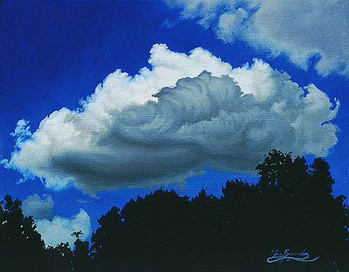Blue Painting - Summer Clouds by Gary  Hernandez