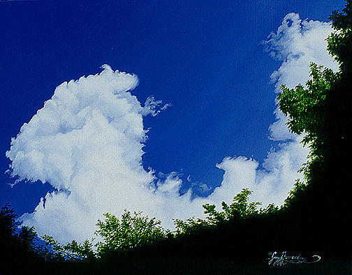 Blue Painting - Summer Clouds IIi by Gary  Hernandez