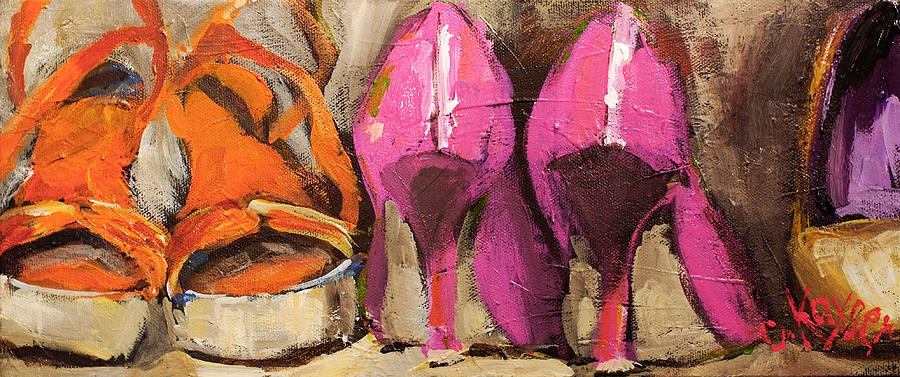 Shoes Painting - Summer Collection by Claire Kayser