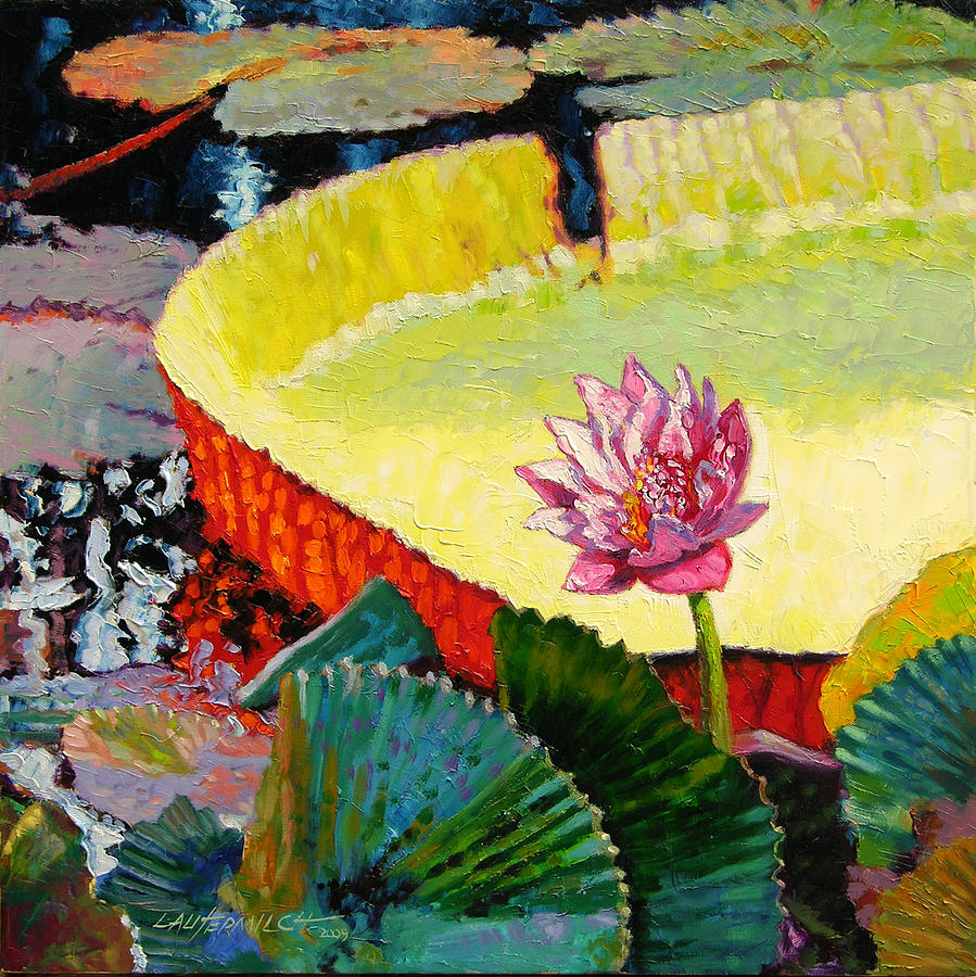 Water Lily Painting - Summer Colors On The Pond by John Lautermilch