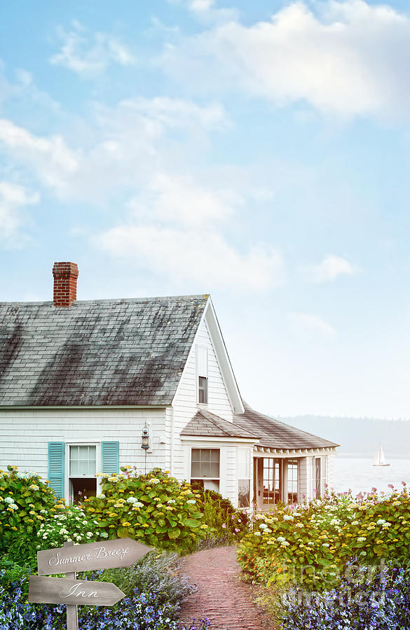 Atmospheric Photograph - Summer Cottage And Flowers By The Ocean by Sandra Cunningham