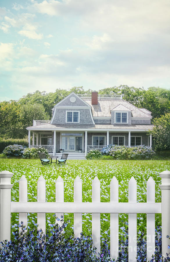 Atmosphere Photograph - Summer Cottage And White Picket Fence With Flowers by Sandra Cunningham