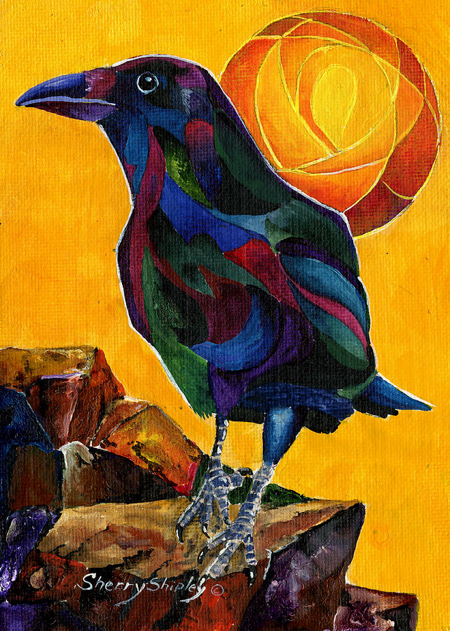 Crow Painting - Summer Crow 2 by Sherry Shipley