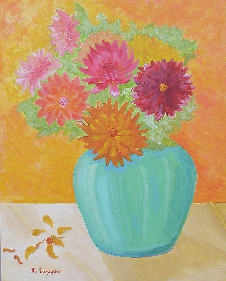 Dahlias Painting - Summer Dahlias by Thi Nguyen