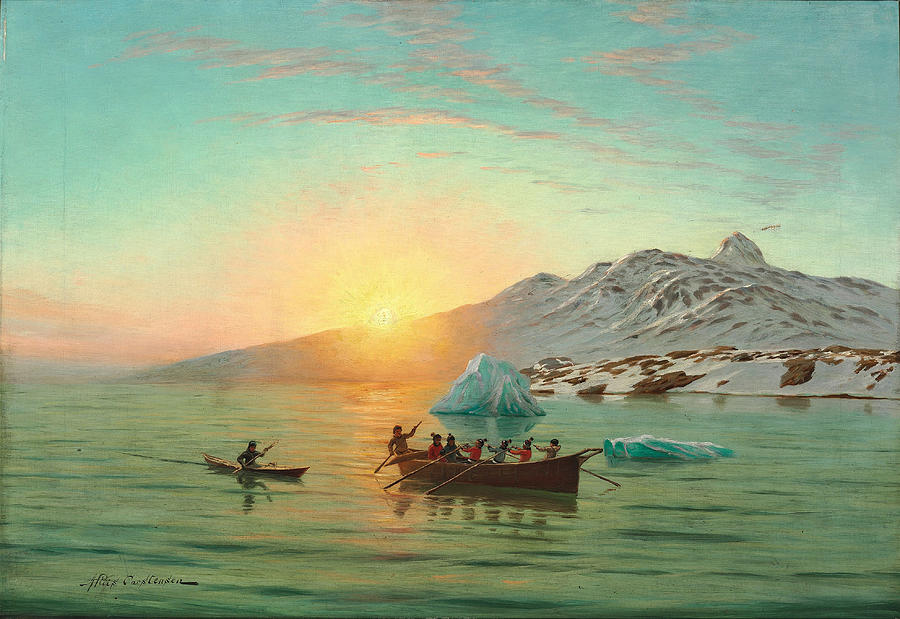 Summer Day In Greenland With An Umiak A Fiord Painting By Andreas Riis Carstensen