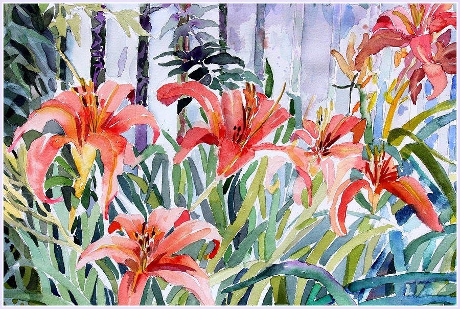 Day Lily Painting - My Summer Day Liliies by Mindy Newman
