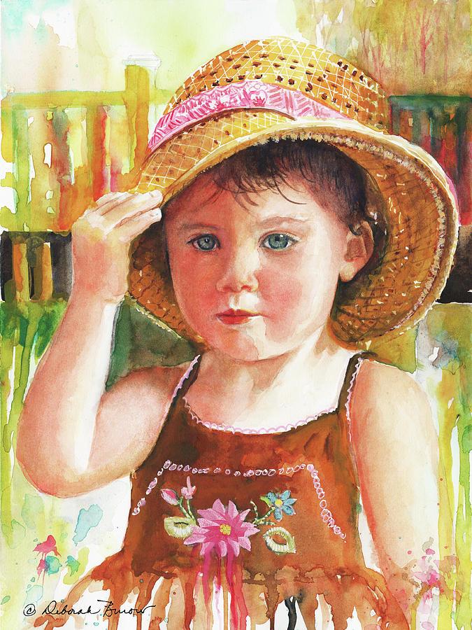 Little Girl Painting - Summer by Deborah Burow