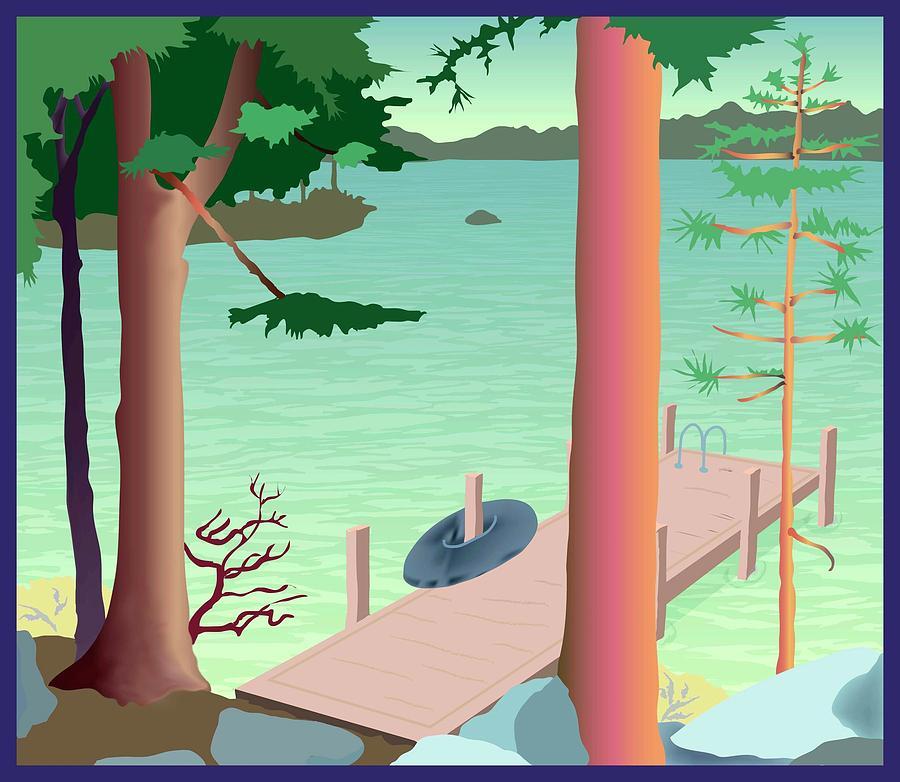 Summer Painting - Summer Dock W/innertube by Marian Federspiel