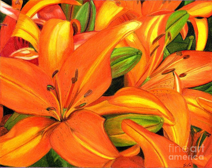 Tiger Lilies Painting - Summer by Ekta Gupta