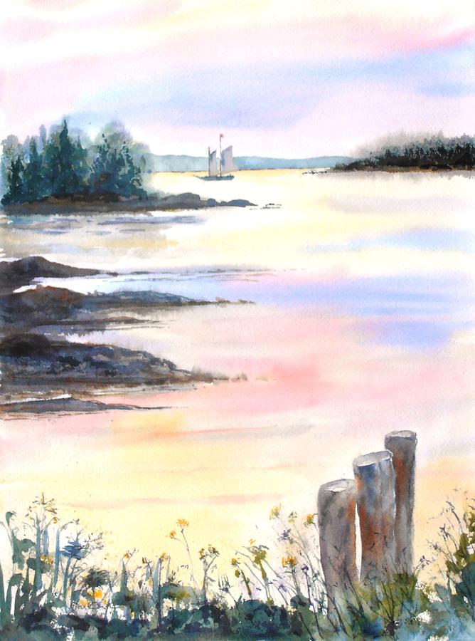 Maine Painting - Summer Evening by Diane Kirk