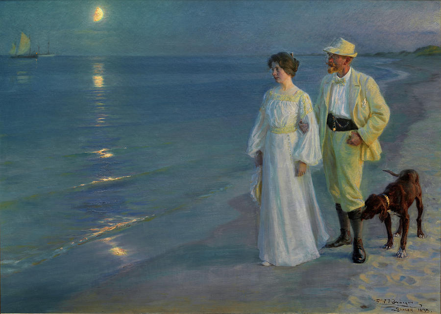 Skagen Painting - Summer Evening On The Beach At Skagen The Artist And His Wife by P S Kroyer