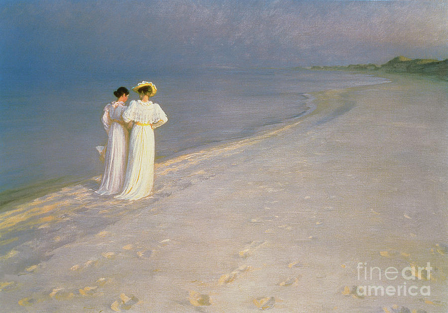 Summer Painting - Summer Evening On The Skagen Southern Beach With Anna Ancher And Marie Kroyer by Peder Severin Kroyer