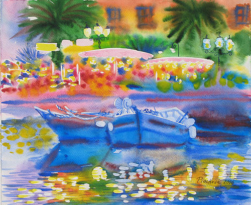 Seascape Painting - Summer Evening Upon The Sea.2006 by Natalia Piacheva