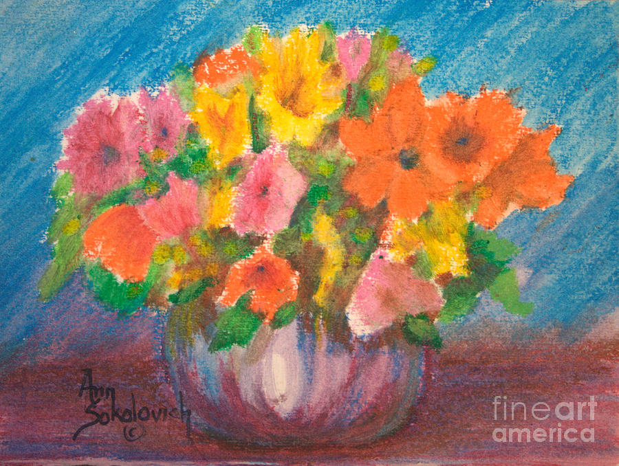 Flowers Painting - Summer Flowers by Ann Sokolovich