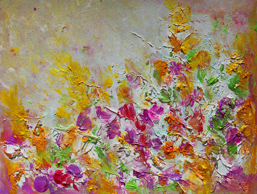 Abstract Painting Painting - Summer Fragrance Abstract Painting by Julia Apostolova