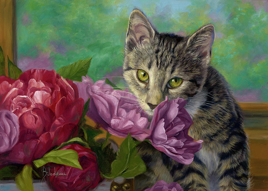 Cat Painting - Summer Fragrance by Lucie Bilodeau