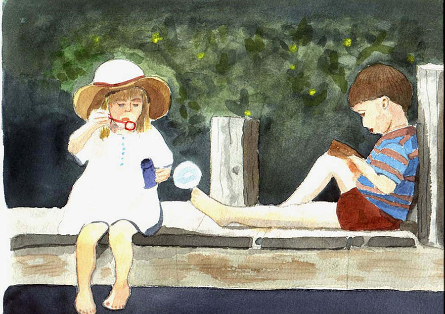 Children Painting - Summer Friends by Jane Croteau