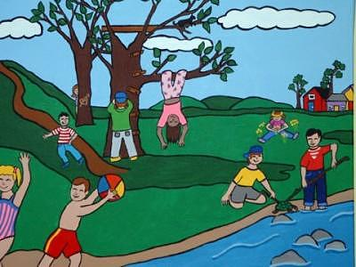 Children Painting - Summer Fun by Trish Laffrenere