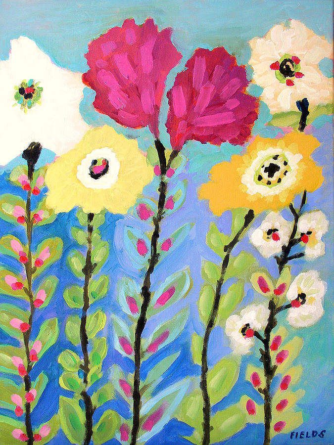 Flowers Painting - Summer Garden by Karen Fields