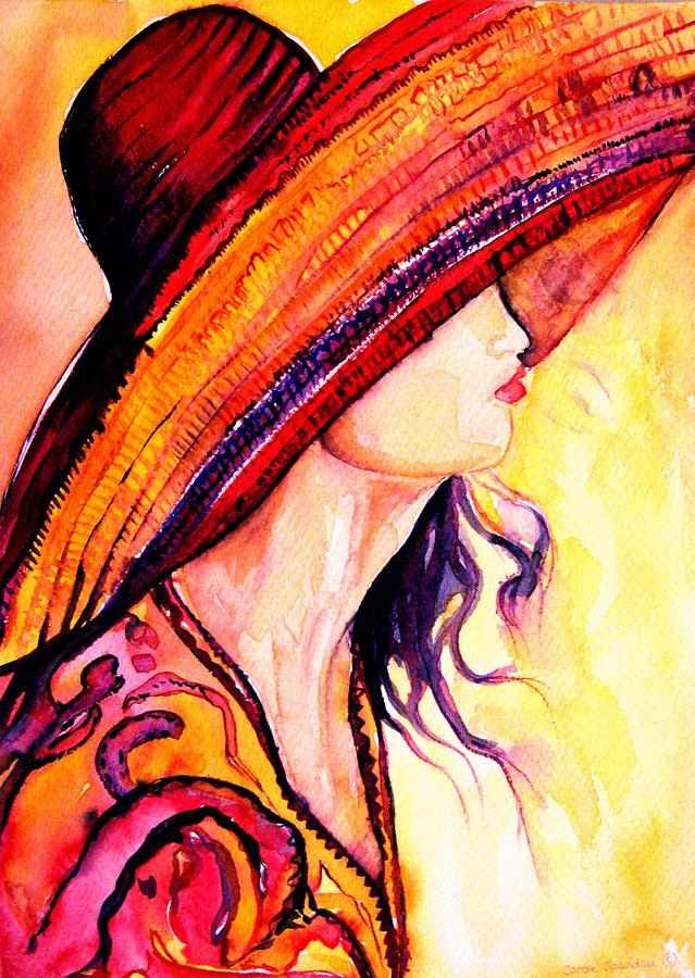 Elegant Lady Painting - Summer Hat by Carole Spandau