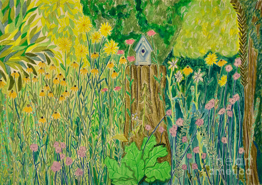 Green Painting - Summer House by Cora Morley Eklund