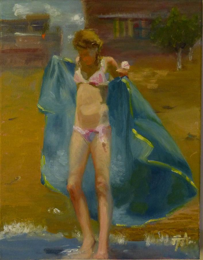 Girl Painting - SOLD Summer Ice Cream by Irena  Jablonski