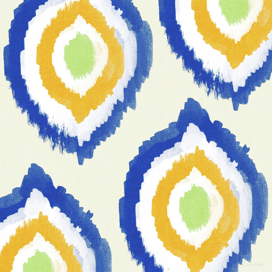 Blue Painting - Summer Ikat- Art By Linda Woods by Linda Woods