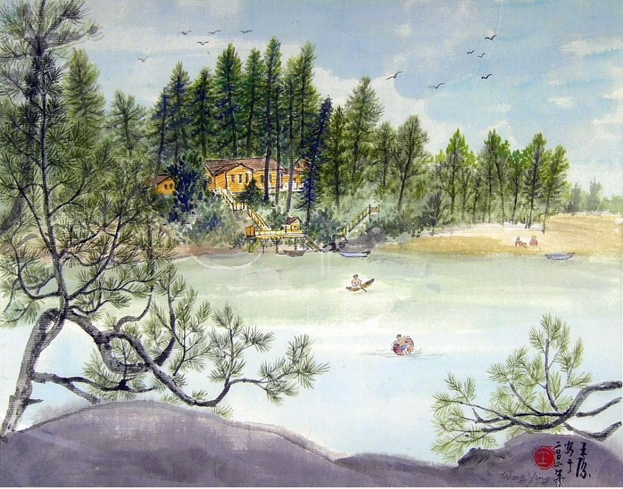 Lake Painting - Summer In Canada by Ying Wong